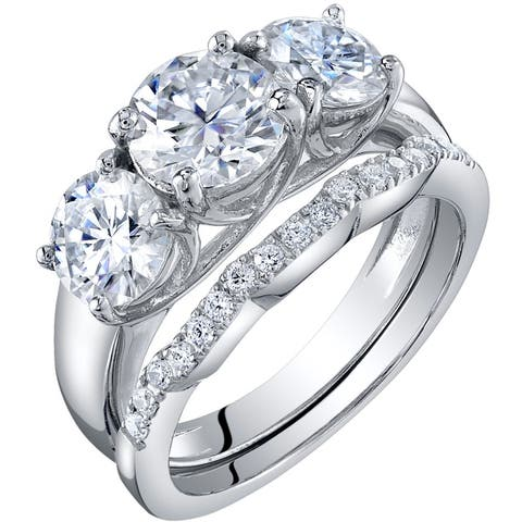 2.75 Carat Moissanite 3-Stone Engagement Ring Wedding Band Bridal Set in Sterling Silver