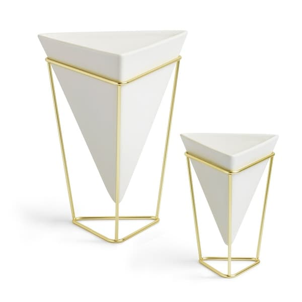 Umbra 1004372 Trigg Two Piece Ceramic Wall Mounted Planter Set with Metal Frame by Moe Takemura - White / Brass