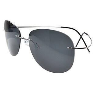 52826c2137 Shop Eyekepper Rimless Titanium Frame Polarized Sunglasses (Gunmetal Grey  Lens