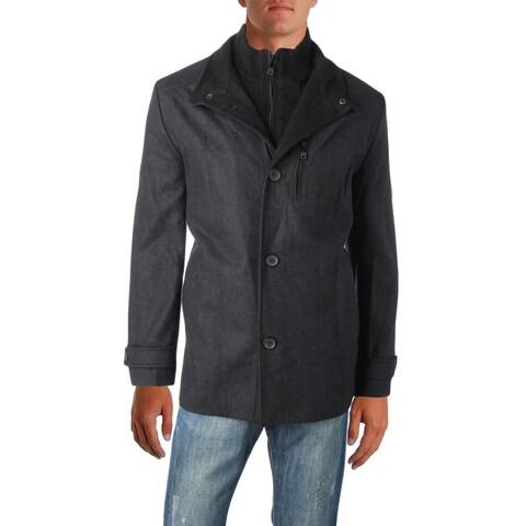 Kenneth Cole New York Mens Car Coat Winter Wool Blend