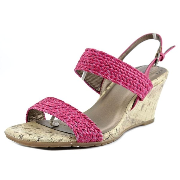 Life Stride Persona Women Open Toe Canvas Pink Wedge Sandal