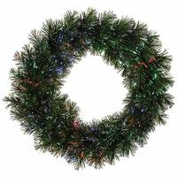 "30"" Pre-Lit Battery Operated Fiber Optic Artificial Pine Christmas Wreath- Multi"