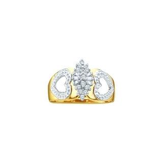 1/6Ctw Round Bagguette Diamond Ladies Cluster Ring Yellow-Gold 14K
