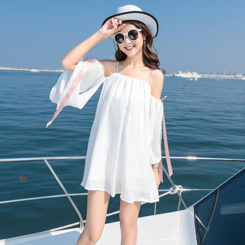 Thin Snow Spun Sling With A Small Fresh Shoulder Dress