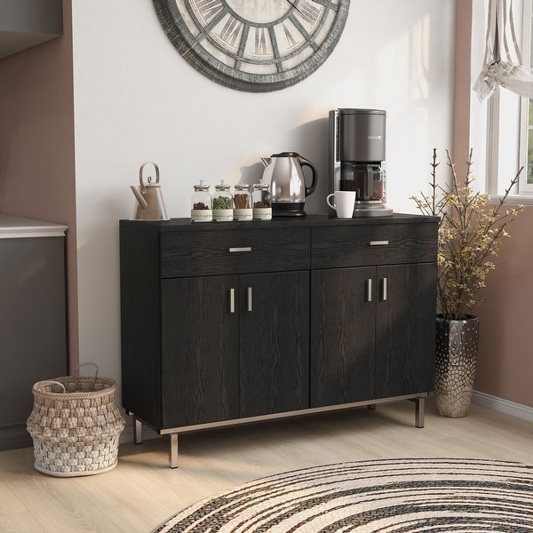 Furniture of America Mason Modern Black Solid Wood Buffet. Opens flyout.
