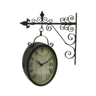 Double Sided Oval Outdoor Clock On Decorative Scroll Bracket