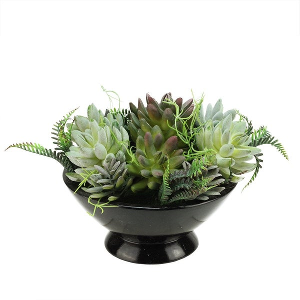 "12"" Artificial Mixed Green and Red Succulent Plants in a Decorative Black Bowl Pot"