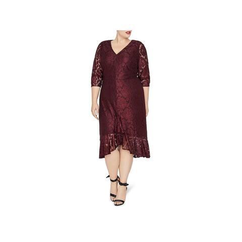 Rachel Roy Womens Plus Cocktail Dress Metallic Lace