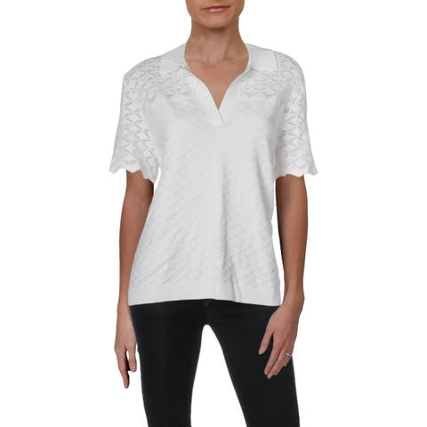 St. John Womens Polo Top Short Sleeves Collared - L