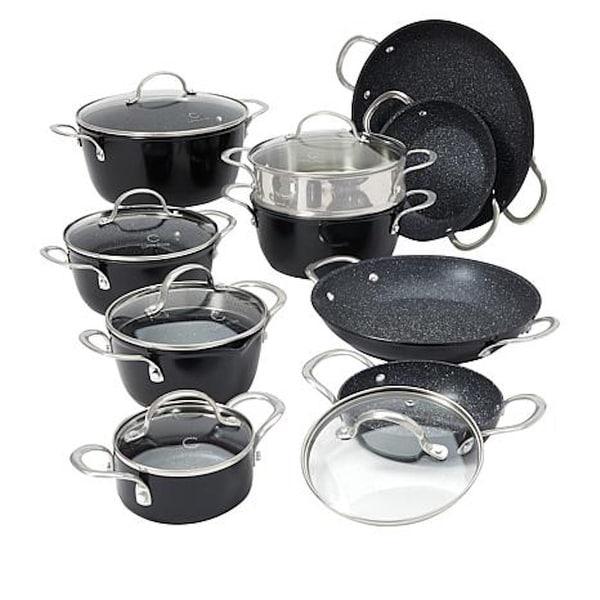 Curtis Stone Dura-Pan Nonstick 16-piece Nesting Cookware Set. Opens flyout.