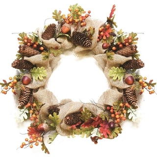 "18"" Autumn Harvest Decorative Artificial Berry, Leaves, Acorns, Pinecones and Burlap Wreath - Unlit"