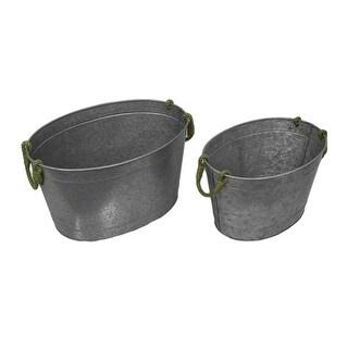 Set of 2 Galvanized Metal Oval Beverage Tubs w/Jute Rope Handles