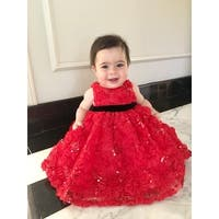 Jojo Belle Infant Flower Sequin Party Dress - Red
