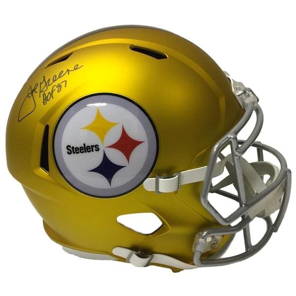 10819286ad6 Mean Joe Greene Signed Pittsburgh Steelers FS Blaze Speed Replica Helmet  HOF JSA