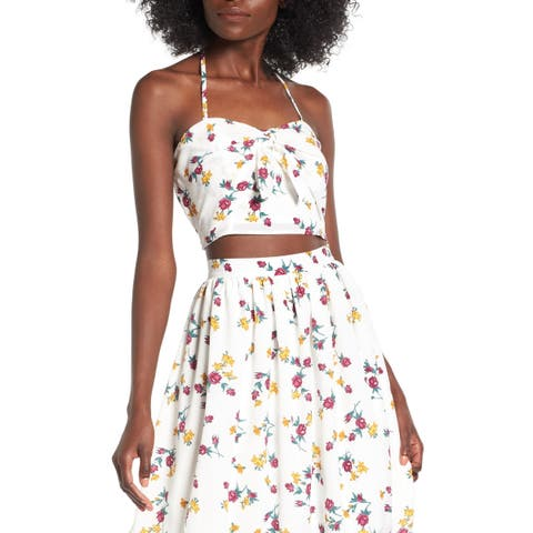 Leith Women's Large Floral-Print Halter Crop Top