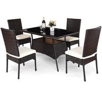 Costway 5 Piece Outdoor Patio Furniture Rattan Dining Table Cushioned Chairs Set - Brown