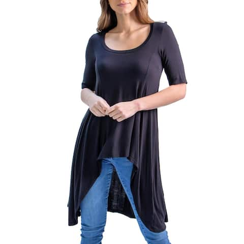 24seven Comfort Apparel Extra Long High Low Tunic Top, R0042005, Made in USA