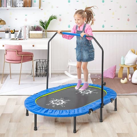 TiramisuBest Mini Parent-Child Twin Trampoline with Handrail-blue - 4.58ft