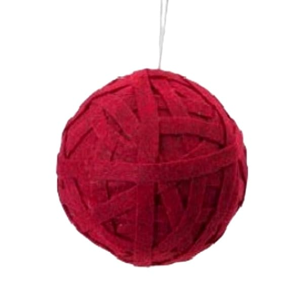 "5"" Cranberry Red Grandma's Knitted Christmas Ball Ornament"