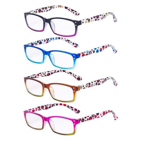 Eyekepper Ladies Reading Glasses 4 Pack Cute Dot Pattern Temples