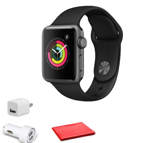 Apple Watch Series 3 38mm (GPS Only, Space Gray + Black Band)