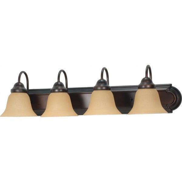 "Nuvo Lighting 60/1266 Ballerina 4 Light 30"" Wide Vanity Light with Champagne Washed Linen Glass Shades - Mahogany Bronze"