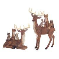 "Set of 2 Deer and Woodland Creature Figurines 10"" - brown"