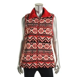 American Living Womens Printed Fleece Sweater Vest