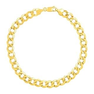 Just Gold Men's Bevelled Link Bracelet in 10K Gold - YELLOW