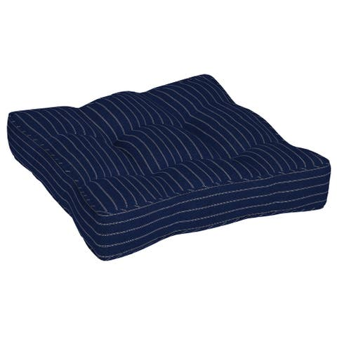 Arden Selections Navy Woven Stripe Outdoor 25 in. Floor Cushion - 25 in L x 25 in W x 6 in H