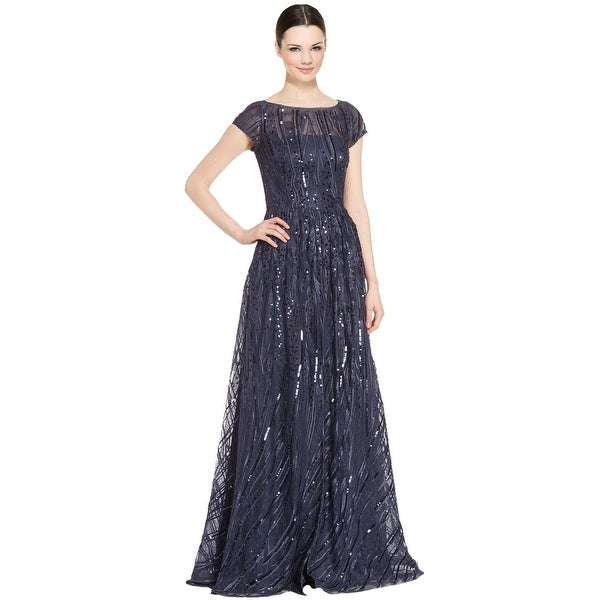 Shop David Meister Short Sleeve Embroidered Sequin Evening Gown ...