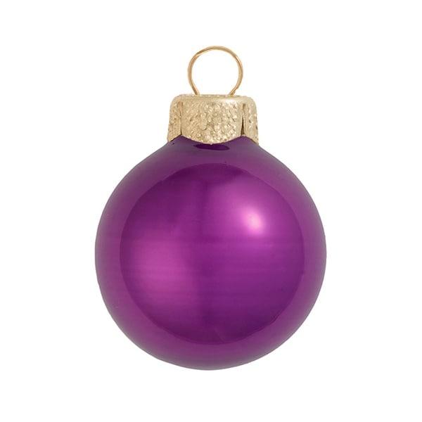 "8ct Pearl Soft Plum Purple Glass Ball Christmas Oranmens 3.25"" (80mm)"
