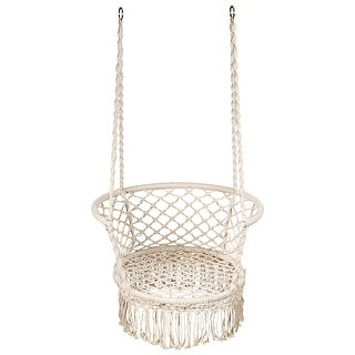 Link to Costway Hanging Hammock Chair Macrame Swing Hand Woven Cotton Backrest Similar Items in Patio Furniture
