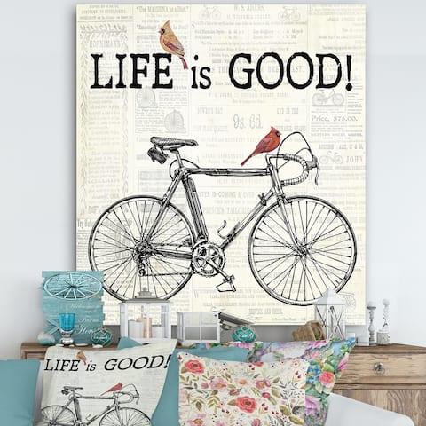 Designart 'Bicycle With Cardinals C' Cottage Premium Canvas Wall Art