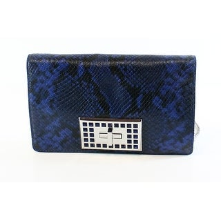 Michael Kors NEW Blue Python Embossed Leather Medium Ellie Shoulder Bag