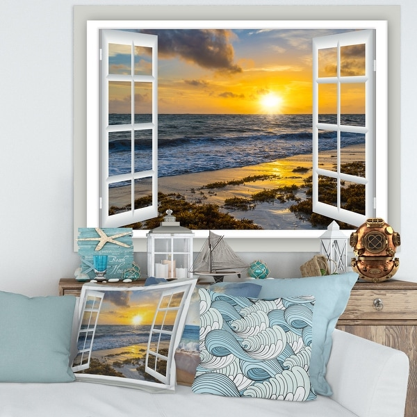 Open Window to Bright Yellow Sunset - Modern Seascape Canvas Artwork Print. Opens flyout.