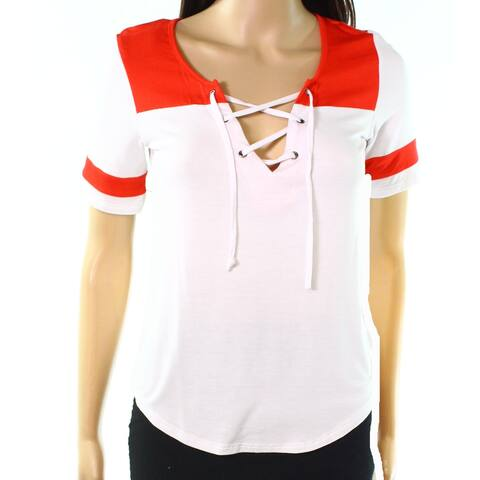 Love Fire White Red Womens Size Large L Colorblocked Knit Top