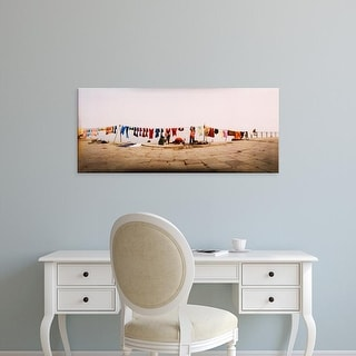 Easy Art Prints Panoramic Images's 'Hanging clothes, Ganges River, Varanasi, Uttar Pradesh, India' Canvas Art