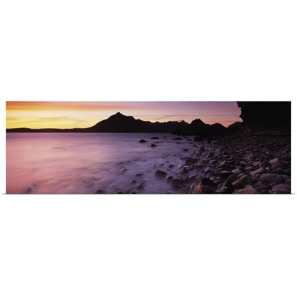 """Rocks on the beach, Elgol Beach, Elgol, looking towards Cuillin Hills, Isle Of Skye, Scotland"" Poster Print"