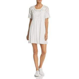 French Connection Womens Shannon Casual Dress Lace Trim Short Sleeves