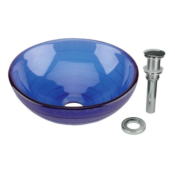Renovator's Supply Mini Vessel Sink with Drain Frosted Blue Tempered Glass Circle Design Bowl Sink