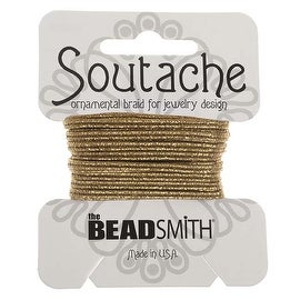 BeadSmith Textured Metallic Soutache Braided Cord 3mm Wide - Matte Gold /3 Yards