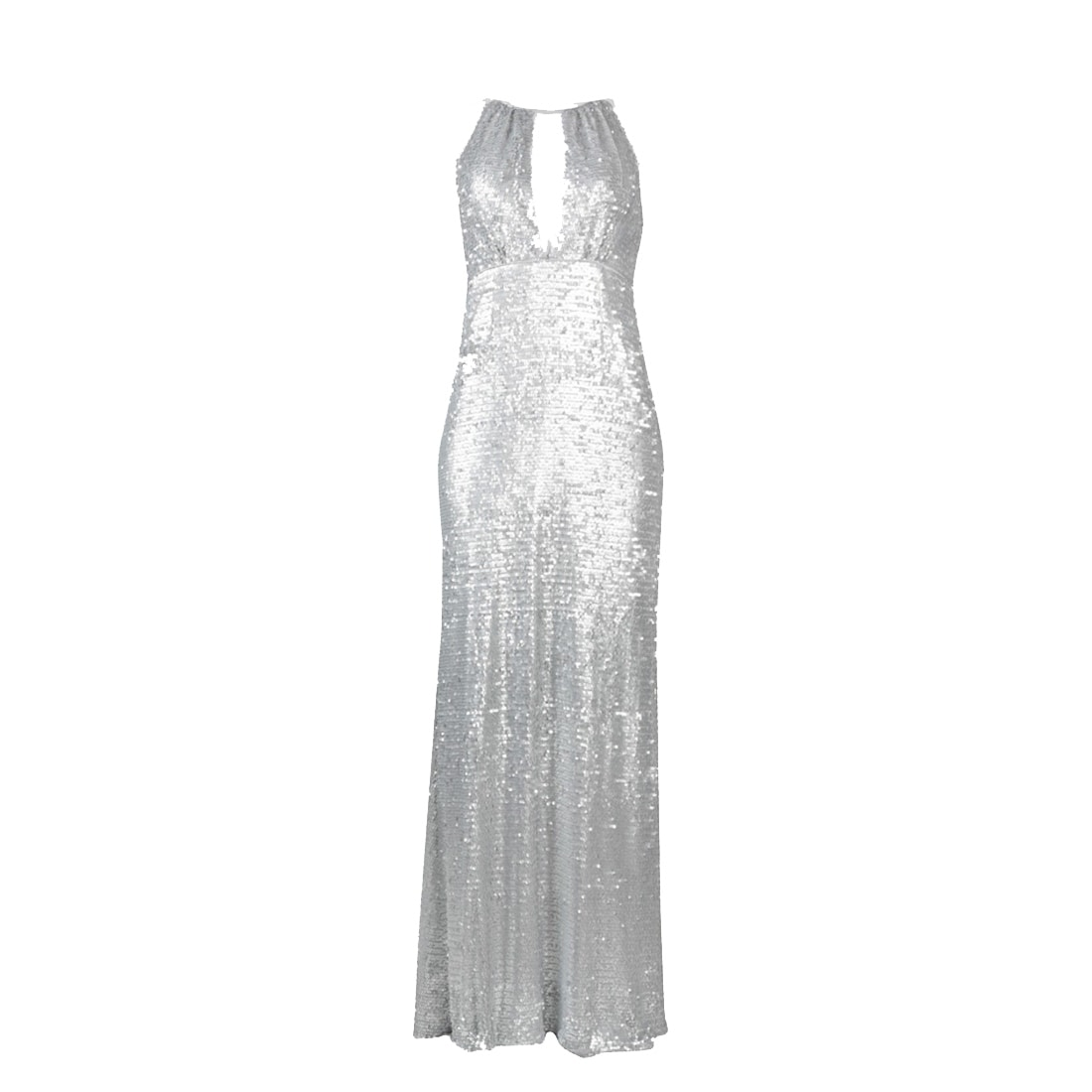 Adrianna Papell Halter Neck Piping Detail Keyhole Sequin Dress, Matte  Silver, 20