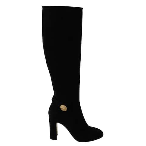 Dolce & Gabbana Black Suede Gold DG Logo Knee Boots Women's Shoes