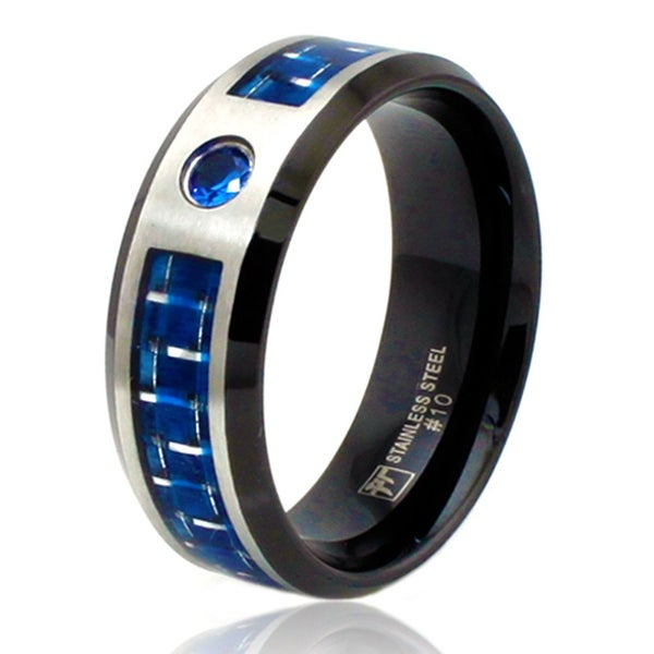 Shop 8mm Two Tone Stainless Steel Ring W Blue Carbon