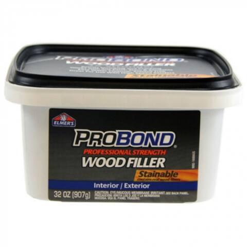 Elmers P9892 ProBond Stainable Interior/Exterior Wood Filler, 1 Qt