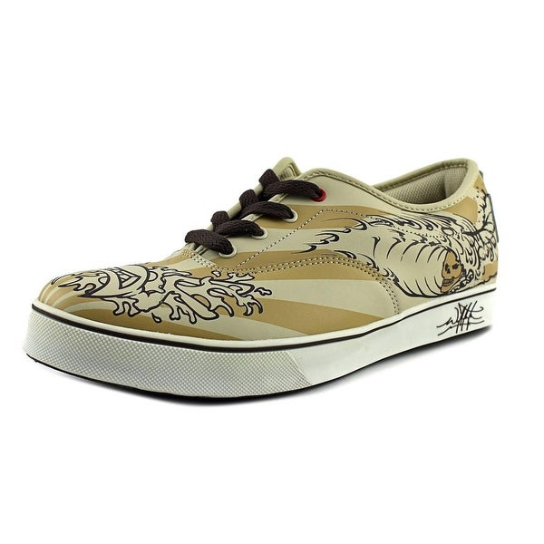 Bulldog Art Tribal Wave Men Synthetic Tan Fashion Sneakers