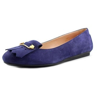 Tod's Gommini Morsetto Giuli Vern+Frangia Women Round Toe Suede Blue Flats