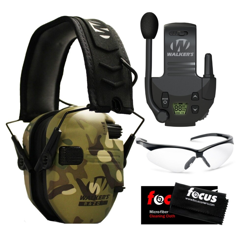 Walkers Razor Slim Electronic Hearing Protection Muffs with Sound Amplification and Suppression and Shooting Glasses Bundle Choose Your Color