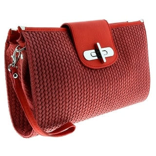 HS1156 CO CORA Coral Red Leather Clutch/Shoulder Bag - Coral Red - 13-8.5-2